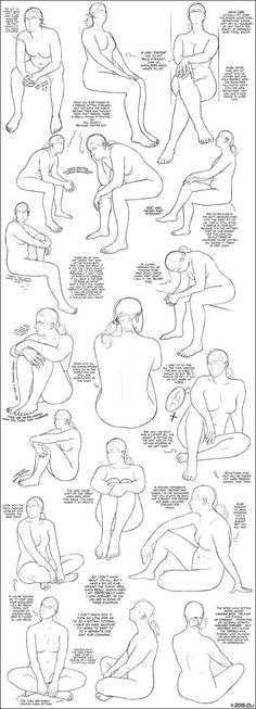 Anatomy Drawing Female Sitting Tutorial (female) by DerSketchie - Human Figure Drawing, Figure Sketching, Figure Drawing Reference, Body Drawing, Anatomy Drawing, Art Reference Poses, Figure Drawing Tutorial, Anatomy Reference, Art Poses