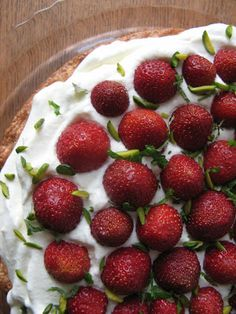 Marzipan cake with strawberries and cream