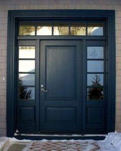 Exterior House Colors Blue Craftsman Front Porches 67 New Ideas Exterior Siding Colors, Exterior House Siding, Exterior Front Doors, Front Entry, Exterior Shutters, Paint Shutters, Exterior Paint, Entry Doors, Black Shutters