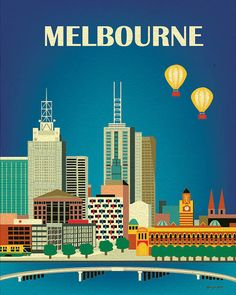 Melbourne, Australia Vertical Skyline - 8 x 10 City Wall Art Poster Print for Home, Office, and Nursery - style E8-O-MEL via Etsy