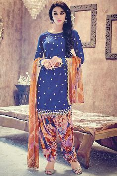 Beautiful Blue Multicolor Suit with Patiala or Pants