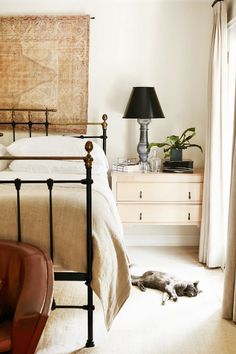"Wollack and Zwickl are also careful not to use too many bright colors in a bedroom. ""We like to use calm and natural colors to keep the space serene and timeless. To add a sheen texture that is..."