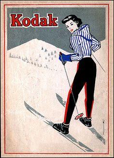 1955 Spanish negative wallet considered rare of Kodak Girl in striped ski jacket. From the collection of Gerardo F. Kurtz, Madrid photo historian and archivist.
