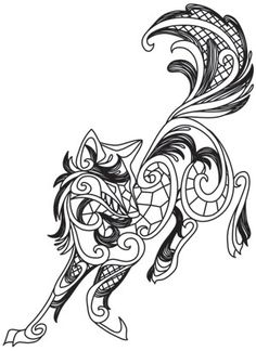 Lacy Detail And Swirls Combine To Create This Otherworldly Wolf Downloads As A PDF
