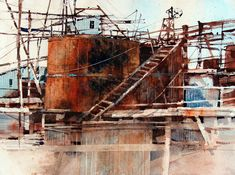 Carl Purcell‎, This is one of the settling tanks from the old Techatticup gold mine Various Artists, Landscape Paintings, Watercolor Art, Old Things, Gold Mine, Fine Art, Tanks, Industrial, Watercolor Painting