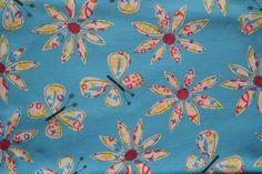 Baumwollstoff | Jersey Polo | Blumen, blau | www.feendesign-shop.de