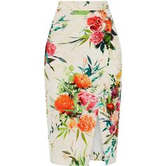 OASIS Floral Pencil Skirt ($70) ❤ liked on Polyvore featuring skirts, bottoms, multi, floral skirt, knee length pencil skirt, holiday skirts, floral print skirt and flower print skirt