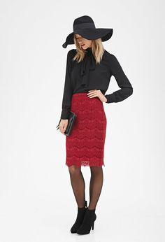 Contemporary Scalloped Lace Pencil Skirt