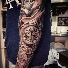 """Gefällt 1,792 Mal, 44 Kommentare - Andy Blanco (@andyblancotattoo) auf Instagram: """"Tick tack... #pocketwatchtattoo #tattoo #ink #tattoooftheday #inkjunkeyz #blackandgreytattoo…"""""""