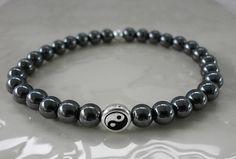 Magnetic Hematite Gemstone Ying Yang Cuff by MECODesignsJewelry