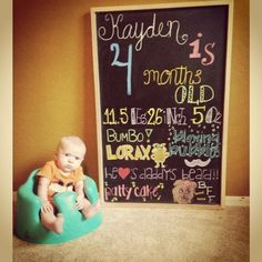 4 month old baby chalkboard monthly milestone chalkboard for Crafts for 14 month old