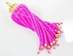 Long Fuchsia Pink Beaded Tassel  22k Matte Gold by LylaSupplies, $10.00