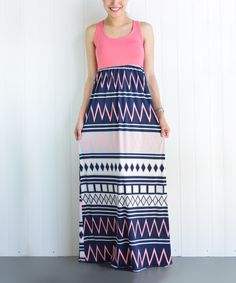 Look at this éloges Coral Geo Maxi Dress on #zulily today!
