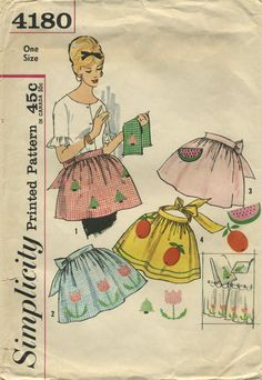 Vintage Apron Sewing Pattern | Simplicity 4180 | Year 196? | One Size vintag apron, apron sew, apronsoth kitchen, sew pattern, apron patterns, apron chic, sewing patterns