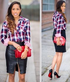 Plaid/with leather