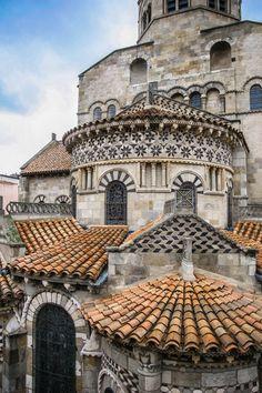 Medieval, Clermont-Ferrand, France, in the Auvergne region Architecture Romane, Architecture Cool, Romanesque Architecture, Vintage Architecture, Romanesque Art, Clermont Ferrand France, Magic Places, Amazing Buildings, Chapelle