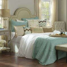 Shop our new Bed & Bath Collection! Find new, relaxing bedding, pillows, headboards, lamps and more at Kirkland's stores Decor, Home, Summer Decor, Bedroom Design, Bathroom Decor, Bed, Relaxing Bedding, Bedroom Decor, Coastal Bedrooms