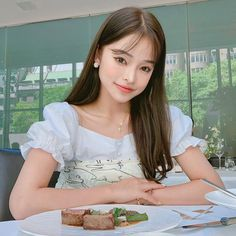 Image may contain: one or more people and people sitting People Sitting, Ulzzang, Ruffle Blouse, Pretty, Image, Tops, Women, Fashion, Moda