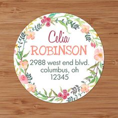 Pink & Coral Floral Wreath Custom Address Labels or Stickers