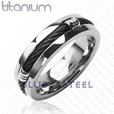 PIN IT TO WIN IT! Titanium Onyx: A solid woven cord is coiled around the center of the indented band of the reflective ring. Triple grooved brackets embedded into the band hold the braided cable in place and complete the construction styled design.  $69.99  http://www.buybluesteel.com