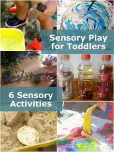 6 sensory activities for toddlers to try - touch, sight, smell and potentially even taste.... any ideas for a hearing sensory activity?