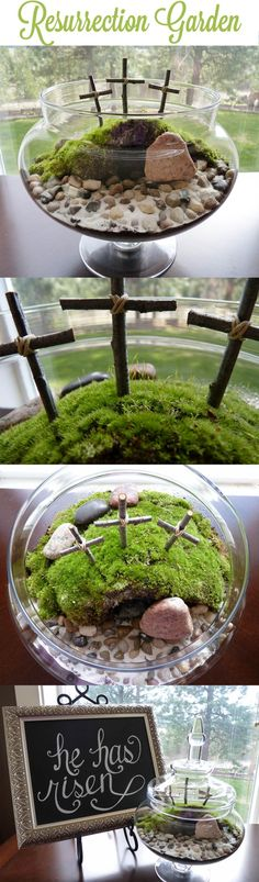 Resurrection Garden made with moss. From bottom to top: small rocks for drainage, soil, moss (dug out from the backyard), rocks for path and white sand. The cave is a small dark cup. The crosses are twigs. Water occasionally. Cover with lid to make it a terrarium (optional).