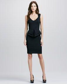 Valentina Peplum Dress, Black