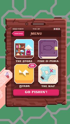Ridiculous Fishing - The fishermans in-game wooden phone displays the devices actual cellular reception, time and battery life. /via Britt Selvitelle