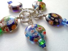 Red or blue glass bead Millefiori stitch markers  by PinkCupcakeJC, $5.00