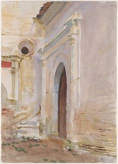 Arched Doorway  John Singer Sargent  (American, Florence 1856–1925 London)  Met American Wing    Date:      1895–1908 (?)  Medium:      Watercolor and gouache on white wove paper  Dimensions:      13 15/16 x 9 15/16 in. (35.4 x 25.2 cm)