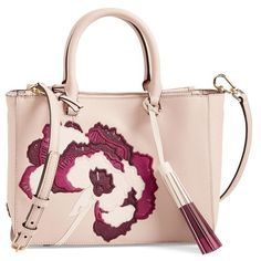 Tory Burch 'Small Robinson Floral' Tote (385 CAD) ❤ liked on Polyvore featuring bags, handbags, tote bags, light oak, leather tote, tory burch tote bag, floral tote bag, tory burch handbags and leather tote handbags