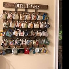 Coffee cup holder, coffee cup rack, 40 to 48 Hook coffee mug rack, coffee mug holder, Holds Starbucks You Are Here Mugs Coffee Cup Rack, Coffee Mug Holder, Coffee Cups, Coffee Cup Storage, Mug Storage, Coffee Mug Display, Diy Vintage, Mug Rack, Coffee Bar Home