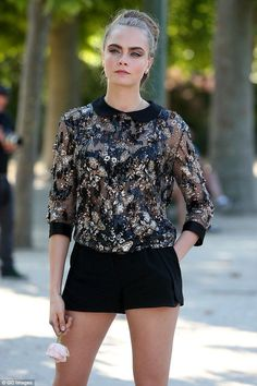 Jenny Packham top and Elie Saab shorts