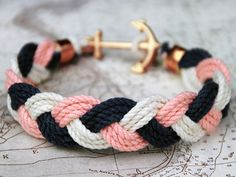Nautical bracelet - Turk's Head Knot bracelet with anchor clasp
