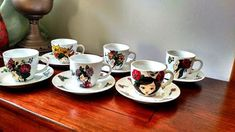 Handmade by Do : Girls, flowers, butterflies- coffee set/ Fete, flo. On October 3rd, July 4th, December, Greek Pattern, Ceramic Angels, Painted Cups, Flower Stands, Coffee Set, Hand Painted Ceramics