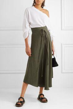 APIECE APART - Rosehip Tencel And Linen-blend Wrap Skirt - Army green - US