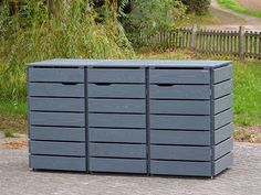 Triple Bin Store, Outdoor Furniture, Outdoor Decor, Outdoor Storage, Home Decor, Waste Container, Fine Dining, Hide Trash Cans, Wood Patterns