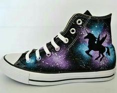Galaxy Shoes, Galaxy Converse, Converse Shoes, Converse Style, Converse Chuck, Galaxy Galaxy, Shoes Sneakers, Painted Converse, Painted Canvas Shoes