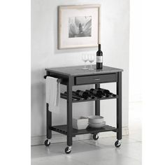 Quebec Black Wheeled Modern Kitchen Cart with Granite Top for the best deal price of affordable modern furniture in Chicago. Elegant Kitchens, Black Kitchens, Cool Kitchens, Quebec, Kitchen Furniture, Home Furniture, Furniture Ideas, Brown Furniture, Custom Furniture