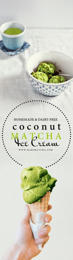 Creamy Coconut Matcha Ice Cream! (Dairy free, Gluten free!) Matcha and Coconut - perhaps one of my favorite culinary pairings. The nutty sweetness and thick creaminess of coconut milk accent's the floral hints and earthy undertones in Matcha. As coffee is to heavy cream, Matcha is to coconut milk.  What better way to combine these two culinary delights than to pair them in a delicious icy cold, creamy, and dairy free ice cream. Rich in antioxidants, essential nutrients, and h...
