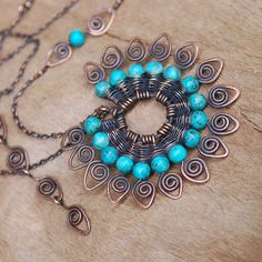 Peacock Tale Necklace with Turquoise in Copper