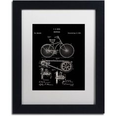Trademark Fine Art Bicycle Patent 1890 Black Canvas Art by Claire Doherty White Matte, Black Frame, Size: 11 x 14, Multicolor