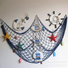 Nautical Seaside Beach Ocean Theme Fishing Net Fancy Party Home Wall Art Decor Nautical Backdrop, Style Nautique, Fish Net Decor, Shell Decorations, Modern Style Homes, Nautical Bathrooms, Home Wall Decor, Decor Room, Art Decor