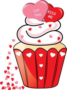 cupcake clipart image , clipart illustration of a valentine cupcake with love you and kiss me