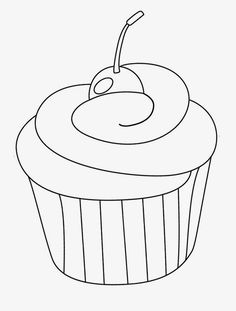 Cupcake With Cherry Coloring Page