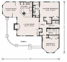 Craftsman Style House Plan - 2 Beds 2 Baths 1270 Sq/Ft Plan #140-133 Main Floor Plan - Houseplans.com