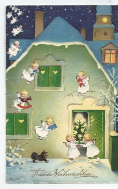 Fritz Baumgarten postcard ~ Angels bringing gifts and Christmas decorations for a Merry Christmas
