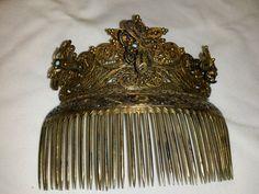 Antique Hair Comb Devine Gold Plated Filigree Tremblant Victorian | eBay