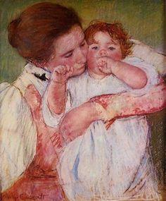 Little Ann Sucking Her Finger Embraced by Her Mother - Mary Cassatt