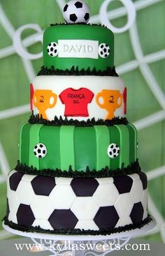 Soccer cake for my daughter- Tatum! Soccer Birthday Parties, Soccer Party, Football Soccer, Birthday Cakes, Fancy Cakes, Cute Cakes, Beautiful Cakes, Amazing Cakes, Sport Cakes